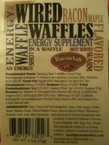 Wired Waffles Label Nutrition Facts